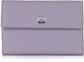 Pineider City Chic Lilac Leather French Purse Wallet