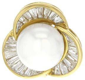 Damiani Diamini 18K Yellow Gold 48 Diamonds & Pearl Huggie Earrings