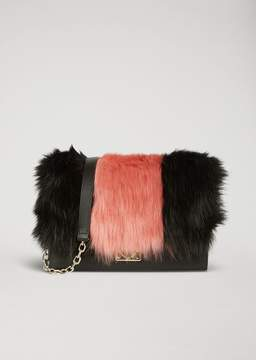 Emporio Armani Shoulder Bag With Two-Colour Faux Fur Inlay