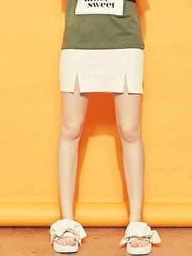Blank Slit Mini Skirt-wh