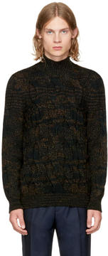 Missoni Green and Black Cable Knit Turtleneck
