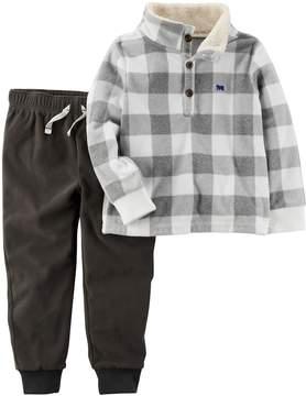 Carter's Baby Boy Checked Pullover Fleece Top & Pants Set