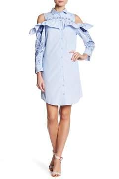 ECI Embroidered Striped Cold Shoulder Shirt Dress