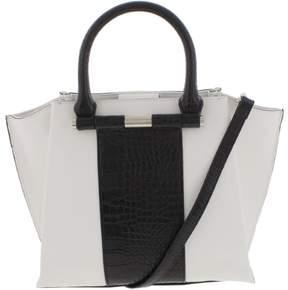 Nine West Womens Divide And Conquer Faux Leather Colorblock Satchel Handbag