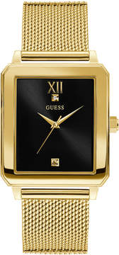 GUESS Men's Diamond-Accent Gold-Tone Stainless Steel Mesh Bracelet Watch 40x35.5mm