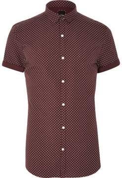River Island Mens Burgundy polka dot short sleeve shirt