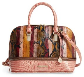 Brahmin Vivian Embossed Leather Dome Satchel - Pink