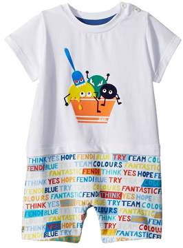 Fendi Short Sleeve Ice Cream Romper w/ Word Print Shorts Boy's Jumpsuit & Rompers One Piece