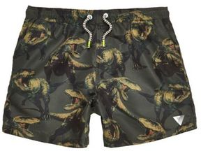 River Island Boys khaki green dinosaur print swim trunks