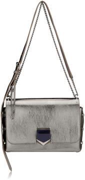 Jimmy Choo LOCKETT CITY Vintage Silver Etched Metallic Spazzolato Leather Shoulder Bag