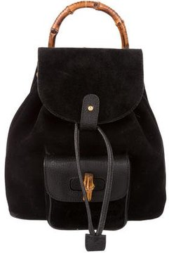 Gucci Vintage Suede Bamboo Backpack - BLACK - STYLE