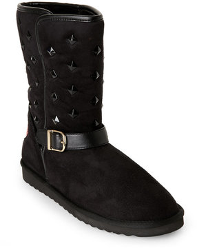 Love Moschino Black Studded Faux Sheepskin Boots