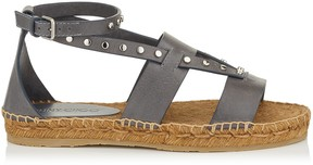 Jimmy Choo DENISE FLAT Grey Vachetta Leather Sandals with Studs