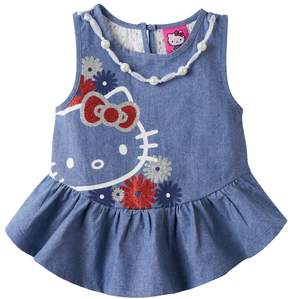 Hello Kitty Girls 4-6x Embellished Chambray Tank Top