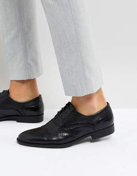 Asos Brogue Shoes In Black Faux Leather With Layered Paneling