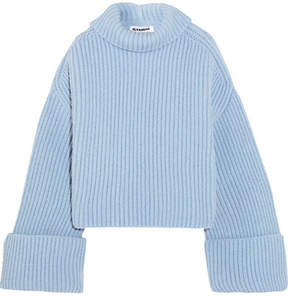 Jil Sander Oversized Ribbed Wool-blend Turtleneck Sweater - Blue
