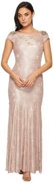 Adrianna Papell Long Metallic Lace Cap Sleeve Gown Women's Dress