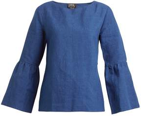 A.P.C. Shirley cotton and linen-blend twill top