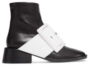 MM6 MAISON MARGIELA Patent-trimmed Leather Ankle Boots - Black