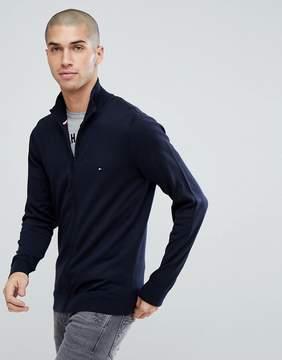 Tommy Hilfiger Full Zip Knit Cardigan Plaited Cotton Silk in Navy