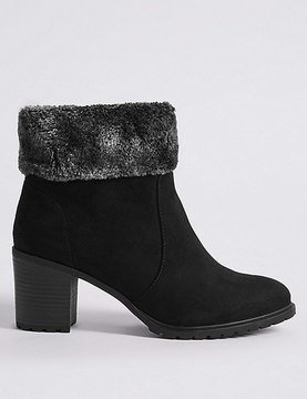Marks and Spencer Wide Fit Block Heel Side Zip Ankle Boots