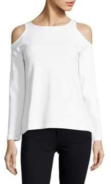 Joan Vass Knit Cold-Shoulder Top