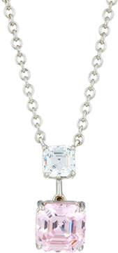 FANTASIA Asscher-Cut Crystal Double-Drop Pendant Necklace, Pink/Clear