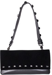 Borbonese Women's Black Velvet Shoulder Bag.