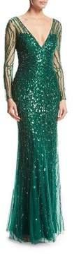 Jenny Packham Long-Sleeve V-Neck Beaded Tulle Gown, Dark Forest