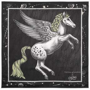 Aspinal of London Pegasus Feather Silk Twill Scarf In Monochrome 35 X 35