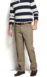 Lands' End Men's Pre-hemmed Traditional Fit Colored Denim Jeans-Khaki