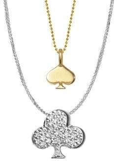 Alex Woo 14K Yellow Gold, White Gold and Diamonds Vegas Spade and Club Necklace
