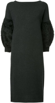 CITYSHOP furry sleeves knitted dress