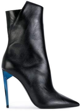Saint Laurent pointed toe contrast heel boots