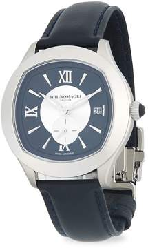 Bruno Magli Men's Stainless Steel & Embossed Leather Strap Watch