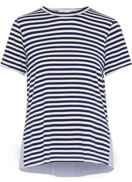 Clu Paneled Striped Seersucker And Stretch-Jersey Top