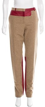 Celine Leather-Accented Wool Pants