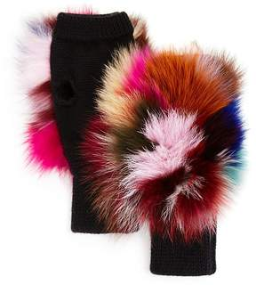 Jocelyn Fox Fur Fingerless Knit Mittens