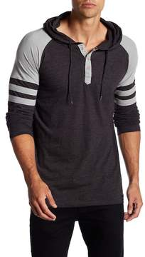 Burnside Long Sleeve Striped Sleeve Henley Hoodie