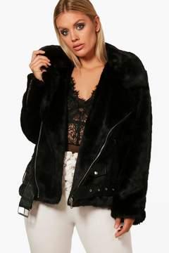 boohoo Plus Faux Fur and PU Trim Aviator Jacket