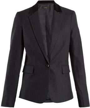 Joseph Prisca velvet-trimmed pinstriped wool-blend jacket