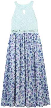 Speechless Girls 7-16 & Plus Size Keyhole Glitter Lace Bodice Floral Skirt Dress