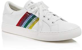 Marc Jacobs Empire Embellished Stripe Low Top Leather Lace Up Sneakers