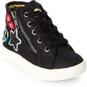 Steve Madden Toddler Girls) Black T-Code Appliquéd High Top Sneakers