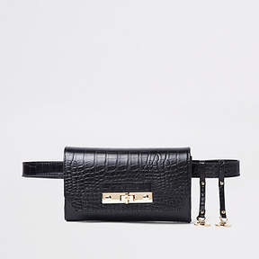 River Island Black croc lock front belted bum bag
