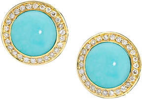 Elizabeth Showers Audrey Turquoise Button Earrings with Diamonds