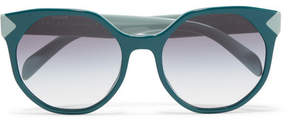 Prada Round-frame Two-tone Acetate Sunglasses - Teal