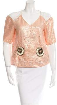 Class Roberto Cavalli Embellished Brocade Top w/ Tags