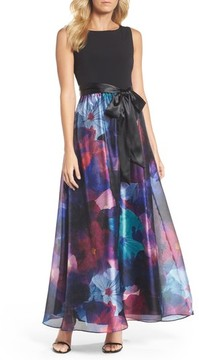 Ellen Tracy Women's Floral Splash Mixed Media Maxi Dress