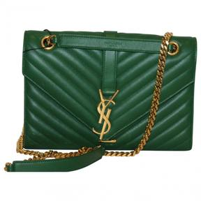 Saint Laurent Satchel monogramme leather crossbody bag - GREEN - STYLE